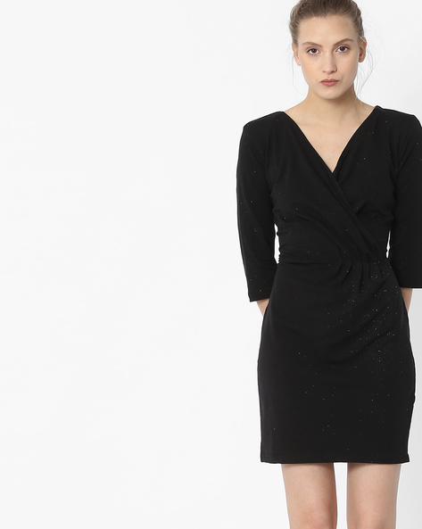 Speckled Bodycon Dress With Surplice Neck By ANONYMOUS CO ( Black )