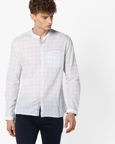 Checked Shirt With Mandarin Collar By VOI JEANS ( Offwhite )