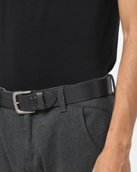 Leather Belt With Buckle Closure By LEVIS ( Grey )