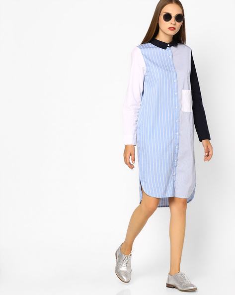 Striped Shirt Dress With Contrast Collar By Evah London ( Blue )