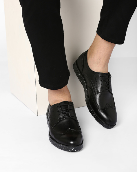 Smart Casual Shoes With Wingtip Broguing By Muddman ( Black )