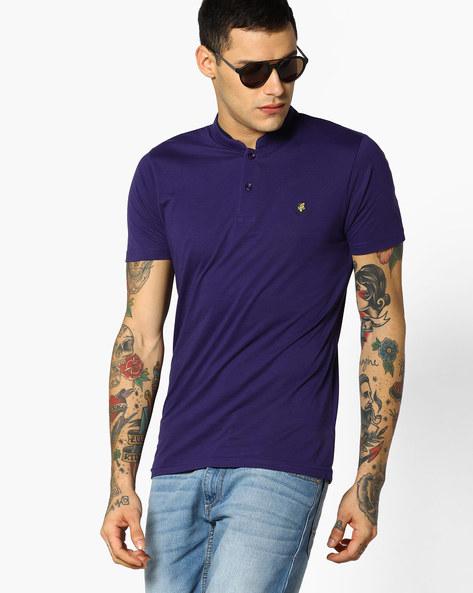 Cotton T-shirt With Mandarin Collar By The Indian Garage Co ( Purple )