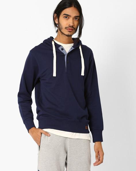 Slim Fit Sweatshirt With Hoodie By Blue Saint ( Navy )