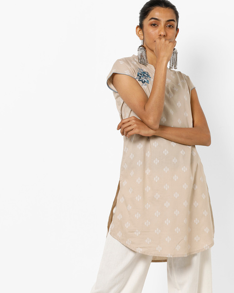 Hand-Block Print Tunic With Mandarin Collar By AJIO ( Beige )