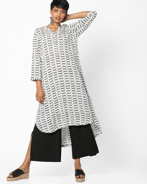 Printed High-Low Straight Kurta By PE IW Casual ( Teal )