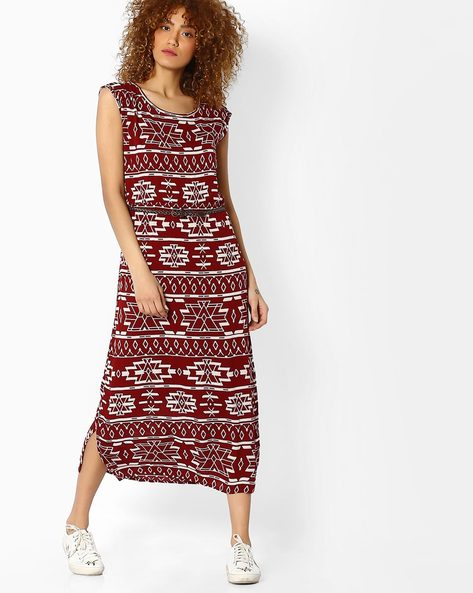 Geometric Print Midi Dress By BOSSINI ( Rust )