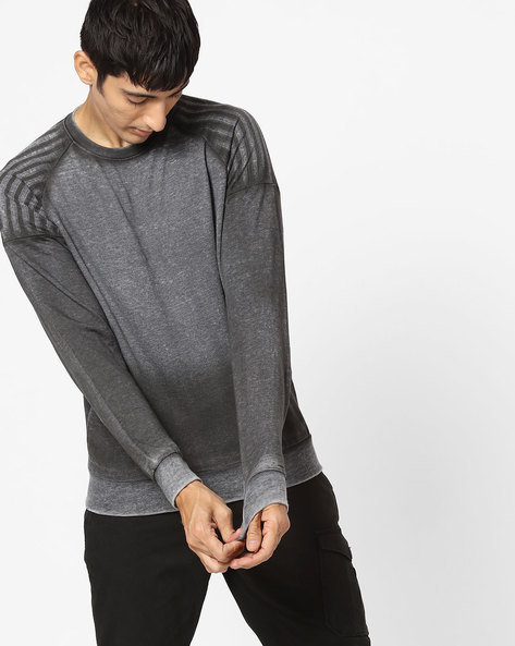 Raglan Sweatshirt With Washed Effect By Blue Saint ( Grey )