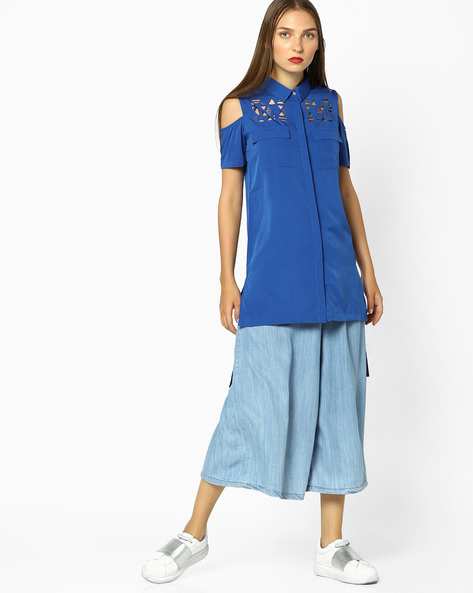Cold-Shoulder Shirt With Laser Cutouts By AJIO ( Blue )