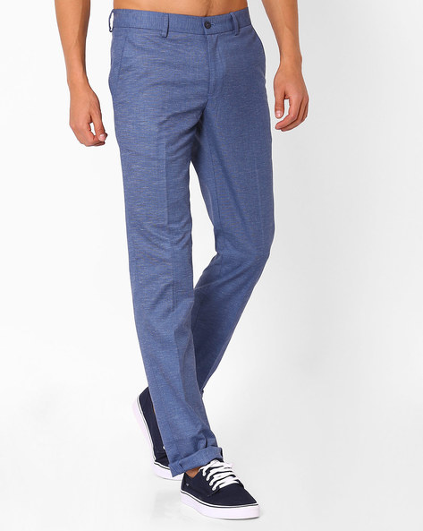 Flat-Front Slim Fit Trousers By NETWORK ( Blue )