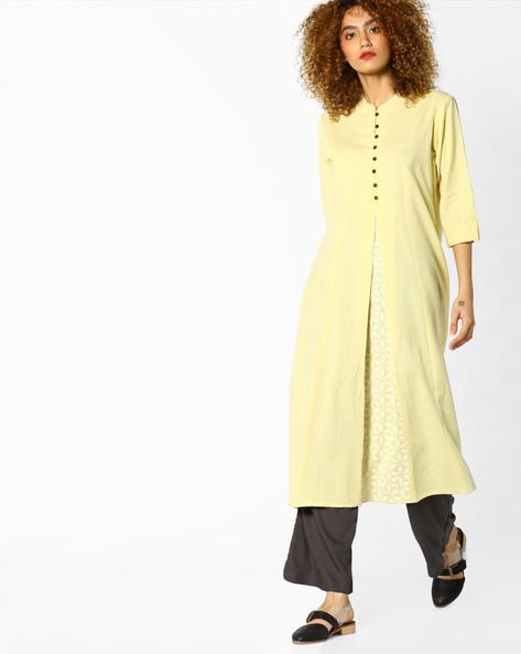 Flared Kurta With Mandarin Collar By Rangmanch By Pantaloons ( Yellow )