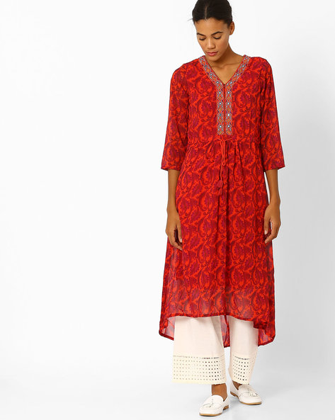 Floral Print High-Low Kurta By Global Desi ( Multi )