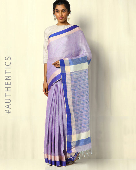 Handloom Pure Linen Saree With Fringes By Indie Picks ( Purple )
