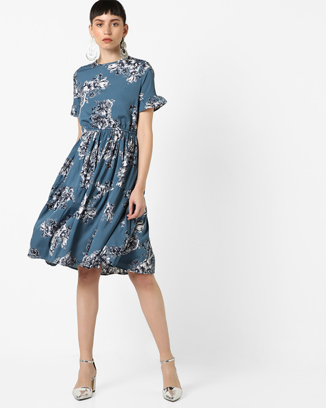Floral Print Fit & Flare Dress By Oxolloxo ( Grey )