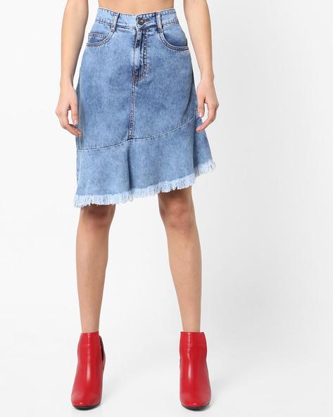 Denim Skirt With Asymmetric Hemline By AJIO ( Lightblue )