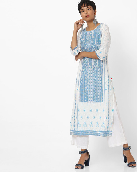 Cotton Printed Kurta By W ( White )