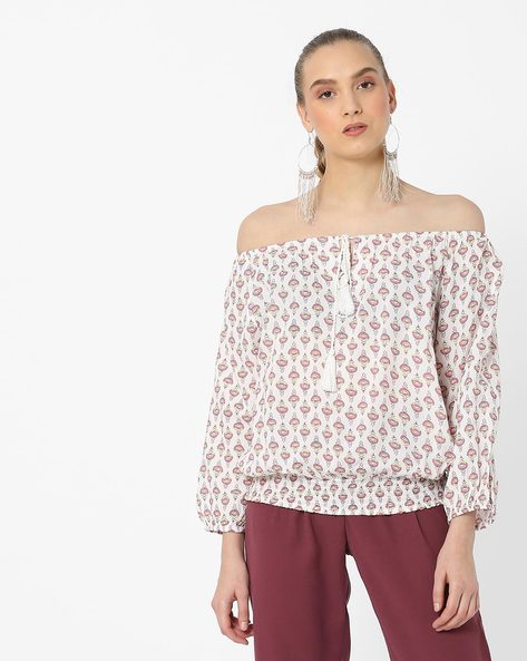 Printed Top With Tie-Up By DNMX ( Coral )
