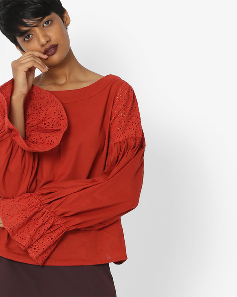 Top With Eyelet-Embroidered Bell Sleeves By Rena Love ( Rust )