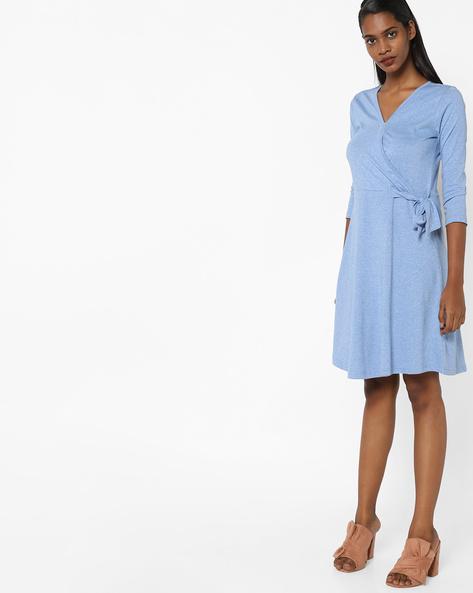Textured Wrap-Style Swing Dress By AJIO ( Blue )
