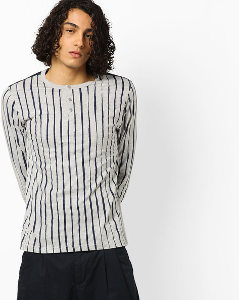 Striped Henley T-shirt With Long Sleeves By AJIO ( Lightgreymelange )