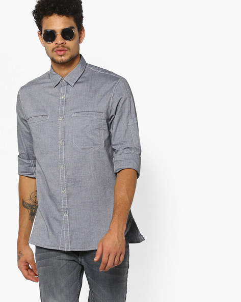 Slim Fit Shirt With Welt Pockets By AJIO ( Grey )