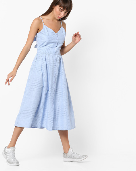 Strappy Polka-Dot Midi Dress With Tie-Up Back By AJIO ( Blue )