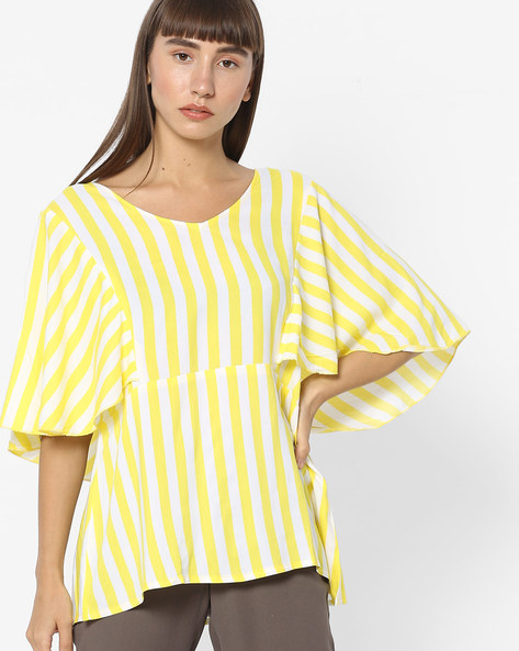 Striped V-neck Top With Angel Sleeves By And ( Ltyellow )