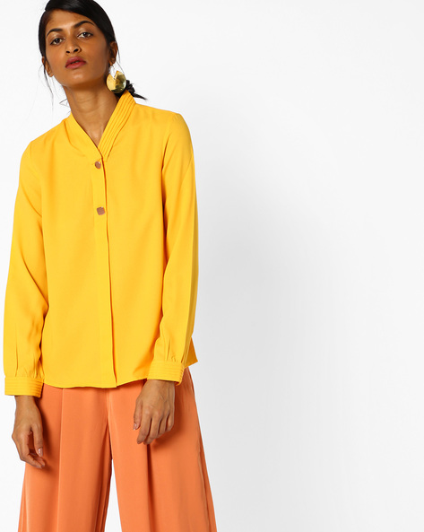 Shirt With Concealed Button Placket By AJIO ( Yellow )