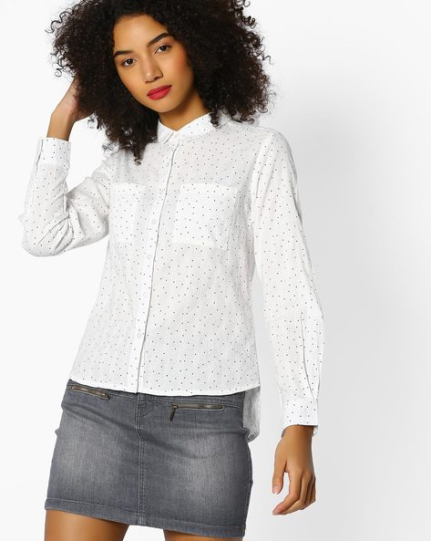 Self-Striped High-Low Shirt With Polka Dots By DNMX ( White )