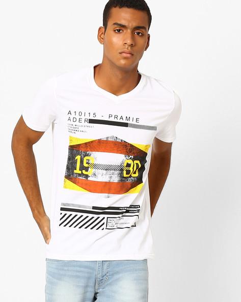 Typographic Print Slim Fit T-Shirt By AJIO ( White )