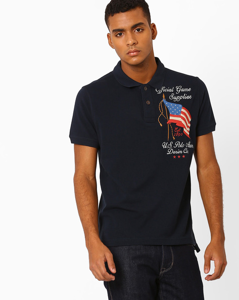 Slim Fit Polo T-shirt By US POLO ( Navy )