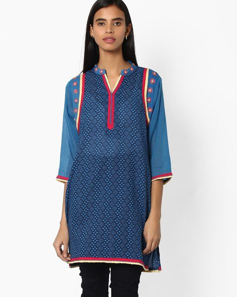 Printed Straight Kurta By Jiyaa ( Blue )