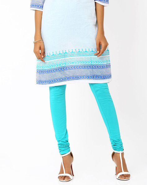 Cotton Churidar Leggings By AURELIA ( Blue ) - 440686893003