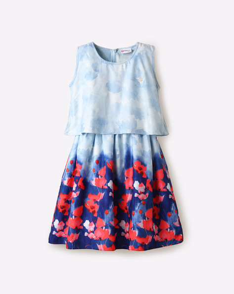Floral Print Popover Dress By Peppermint ( Blue )