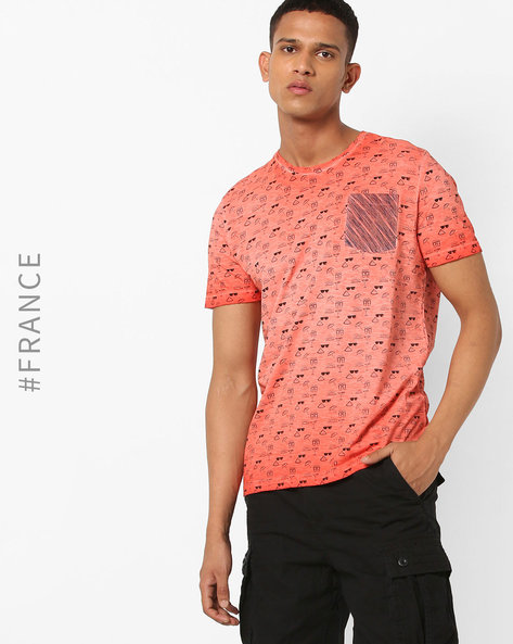 Printed Crew-Neck T-shirt With Washed Effect By Kaporal ( Blood )
