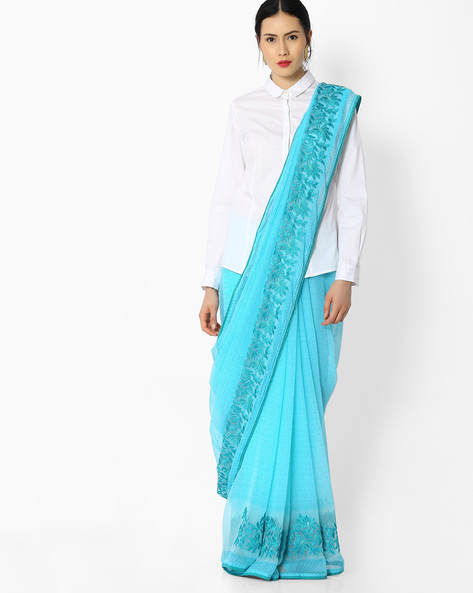 Printed Saree With Embroidery By Amori ( Blue )