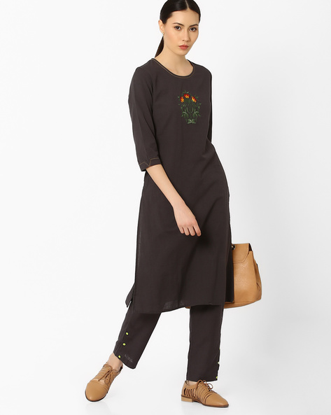 Straight Kurta With Placement Embroidery By AJIO ( Charcoal )