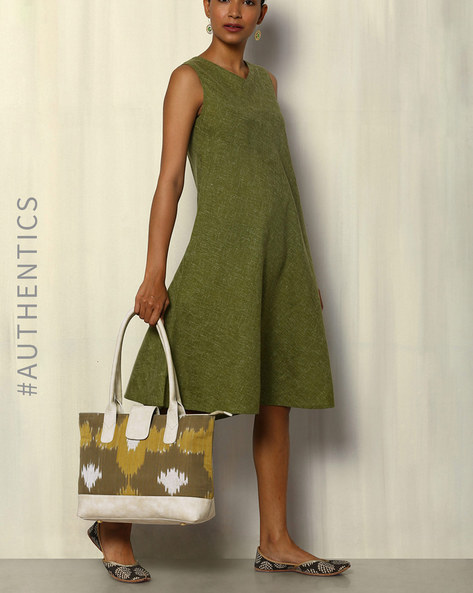Handwoven Ikat Vegan Leather Tote Bag By A BIG INDIAN STORY ( Beige )