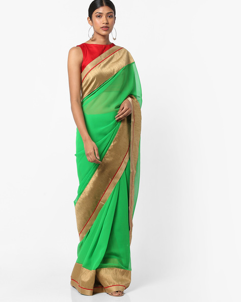 Saree With Contrast Border By Vastrangi ( Green )