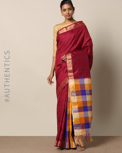 Pure Silk Dupion Checked Saree By Rudrakaashe-MSU ( Maroon )