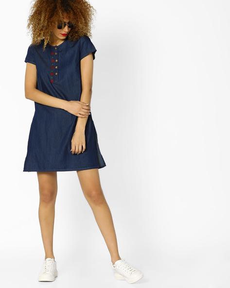 Denim Dress With Embroidery By AJIO ( Blue )