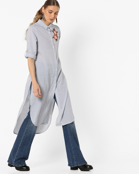 Striped Shirt Kurta With High-Low Hemline By Melange By Lifestyle ( Offwhite )