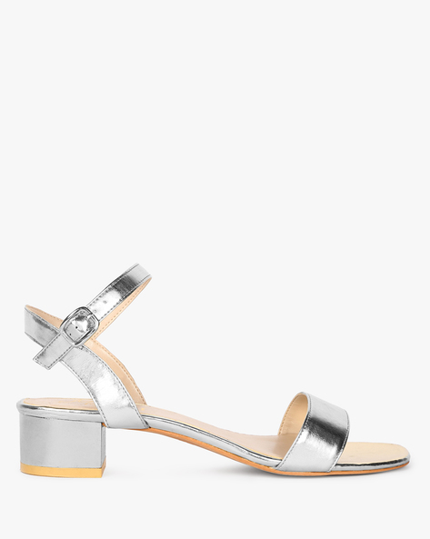 Ankle-Strap Block Heels With Buckle Closure By Carlton London ( Silver )