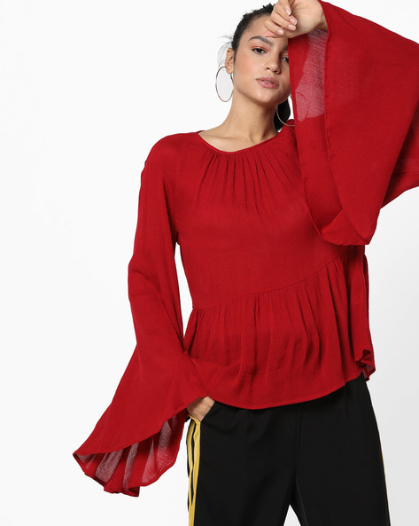 Flared Top With Asymmetrical Trumpet Sleeves By Femella ( Red )