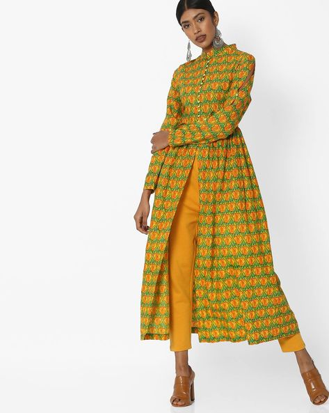 Printed Front-Open A-line Kurta By Sassafras ( Yellow )
