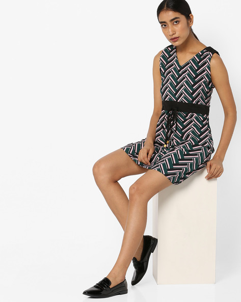 Chevron Patterned Shift Dress With Tie-Up By Tokyo Talkies ( Multi )