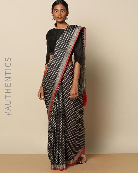Soft Pure Silk Monochrome Print Saree By Rudrakaashe-MSU ( Black ) - 460153783001