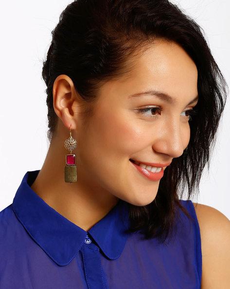 Gold-Plated Dangler Earrings By Shabnam Gitanjali ( Pink )