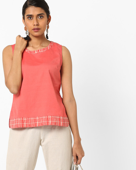 Sleeveless Top With Printed Taping By AJIO ( Pink )