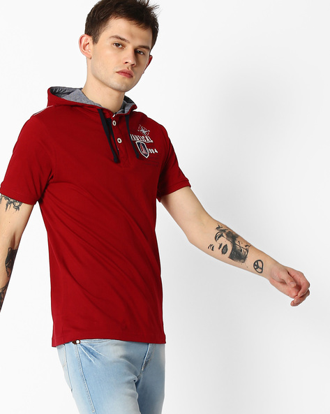 Cotton T-shirt With Drawstring Hood By TEAM SPIRIT ( Red )