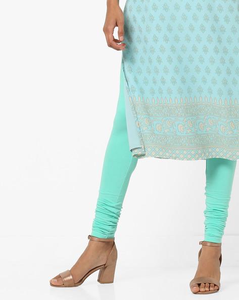 High-Rise Churidar Leggings By AJIO ( Aqua )